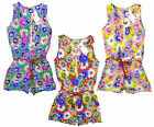 Girl's Floral Cotton Zipper Playsuit & Rope Belt Summer Fashion 2-12 Years NEW