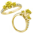 0.75 Carat GH Diamond 3 Three Stone Eternity Wedding Bridal Ring 14K Yellow Gold
