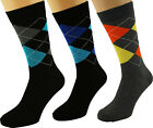 FREE UK 1st Class Post - ARGYLE Diamond X 3 Cotton Rich Dress Casual Socks 7-11