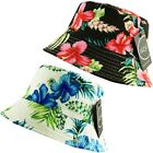 ITZU Co.Unisex Hawaiian Floral Bucket Boonie Bush Sun Hat  Black,White + Multi