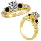 1.5 Carat G-H & Black Diamond 3 Stone Eternity Engagement Ring 14K Yellow Gold