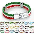 "Boys Unisex Womens Flag Style Sports Surfer Man-made Leather Bracelet 8"" Gifts"