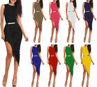 Ladies Jersey Draped Asymmetrical Mixi Womens Cut Out Hi Low Belted Wrap Dress