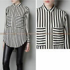 Classic Women Long Sleeve Casual Shirts Chiffon Loose Lapel Stripe Blouse Tops
