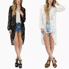 New Women Boho Crochet Lace Floral Kimono Cardigan Coat Jacket Blouse Tops Retro