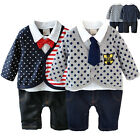 Baby Boy Kids Newborn Fashion Playsuit Gentleman Romper Outfit Clothes 0-24M