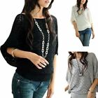 Womens Batwing Sleeve Hollow Sweater Loose Knit Blouse Top Jumper Pullover Shirt