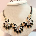 C6 US Summer Womens Crystal Necklaces Dress Chunky Flowers Charm Jewelry Necklac