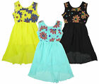 Girl's Bold Flower Lace Crochet Chiffon Sleeveless Bow Back Dress 3-14 Years NEW