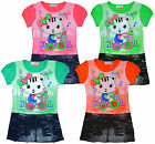 Girl's Kitty Cat T-Shirt Denim Look Skirt Fashion Dress 3 to 10 Years NEW