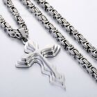 3 COLORS Mens Chain Cross Stainless Steel PENDANT NECKLACE 18-36'' 5MM BYZANTINE