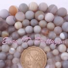 "Natural Agate Beads Gray Frost Round Stripe Gemstone Spacer Strand 15"" 6,8,10mm"