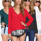 Sexy Women's V Neck Long Sleeve Chiffon Casual Top Loose Blouse Tee T Shirt 8-16
