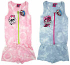 Girls Monster High Draculaura Skull Goth Tie Dye Zip Playsuit 8-14 yrs NEW