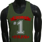 Dad Fathers Day  World's No.1 Papa Best Mens Military Green Tank Top
