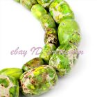 DIY Jewelry Making Cloumn Green Imperial Jasper Gemstone Spacer Beads Strand 15""