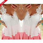 Sexy Ladies Vest Embroidery Lace Tops Chiffon Shirt Blouse Cami Top Size 6-22