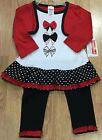 Fisher Price Baby Girl's Black White & Red 2 Piece Outfit New with Tags
