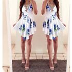 Women's Sexy Flower Print V-Neck Sleeveless Irregularity Bodycon Summer Dress LG