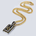 Carved Music Note Rhythm Dog Tag Men Chain 316L Stainless Steel PENDANT NECKLACE
