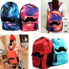 1xUnisex Boy Girl Canvas Beard Printed Rucksack Backpack Travel Shoulder Bags Z
