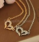 Feature Vogue Rhinestone Crystal Love Hearts Necklace Pendant Chain Jewelry JRAU