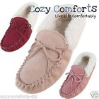 Womens / Ladies Genuine Suede Sheepskin Moccasin Slippers with Suede Sole
