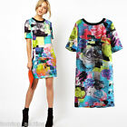 European Fashion Women Mini Colorful Print Short Sleeve T-shirt Dress S M L