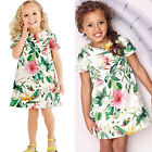 Fashion Kids Baby Girl Clothes Short Sleeve Flower A-line Dress Party Dress 1-6Y