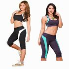 Women Splicing Stretch Capri Fitness Leggings Skinny Slim Sports Yoga Pants S