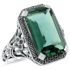 6 CT. GREEN SIM EMERALD ANTIQUE DESIGN .925 STERLING SILVER RING,      #533