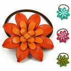 Leather Lily Flower Ponytail Holder, Hair Tie, Bow cab3