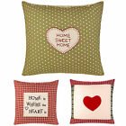 """HANDCRAFTED VINTAGE CUSHION COVERS EMBROIDERED GREEN RED 18"""" X 18"""" 45CM X 45CM"""
