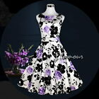 50s Hepburn Style Wedding Party Prom Vintage Swing Floral Print Dress