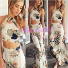 Sexy Women Boho Print Floral Two Piece Ladies Long Suit Dress Summer Beach UK