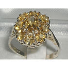 Hallmarked Solid 925 Sterling Silver High Quality Natural Citrine Cluster Ring