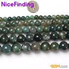 """Round Natural Moss Agate Jewelry Making Necklack Loose Beads Gemstone 15"""""""