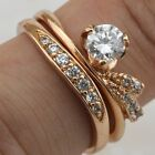 Size5.5 6.5 7.5 2in1 Hot White CZ  Jewelry Rose Gold Filled Lady Ring Sets R2108