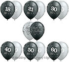 20 Black & Silver Helium / Air Balloons Happy Birthday Party Decorations 11""