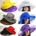 Lady Church Kentucky Derby Organza Hat Sheer Wide Brim Dress Wedding Tea Party