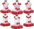 Valentine Mother Father's Day Shirt Pink Trimmed Petal Skirt Girl Clothing NB-8Y