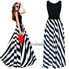 Sexy Women's Boho Striped Long Maxi Evening Cocktail Party Chiffon Dress S-2XL