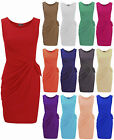 Womens Ladies Plus Size Jersey Drape Bow Pleated Shift Smart Party Dress 8-22