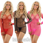 Sexy Lingerie Fishnet/Fence Net Long Sleeve Dress and String Size 10,12,14 NEW
