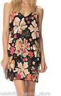 French Connection Black Multi Floral Aloha Strappy Mini Sequin Party Dress 10 38