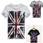 Pop Men Fashion Classic Round Neck Shirt UK Flag Printed Casual T-shirt AUJR