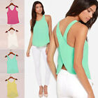 Sexy Summer Womens Lady Backless Sheer Sleeveless Shirt Chiffon Blouse Tops Vest