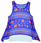 Girl's 2 in 1 Layered Chiffon Summer Top & Vest Set Blue 5 to 12 Years NEW