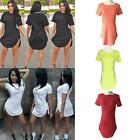 Summer Women Lady Tops Cropped Short Sleeve Side Slit Casual Long Cotton T Shirt
