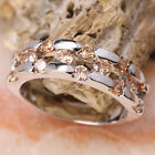DAZZLING Brown Morganite Semi-precious Stone SILVER Ring Size6 /7 /8 /9 T7910